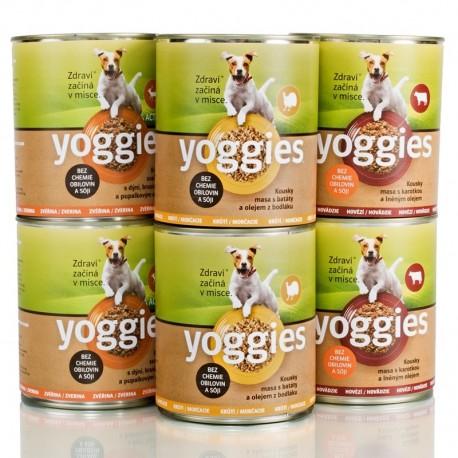 Yoggies 2+2+2 Krůtí, Hovězí, Zvěřina 800g