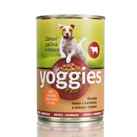 Yoggies Hovězí s karotkou a lněným olejem 400g